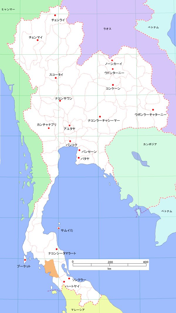 タイの地図 -トラン